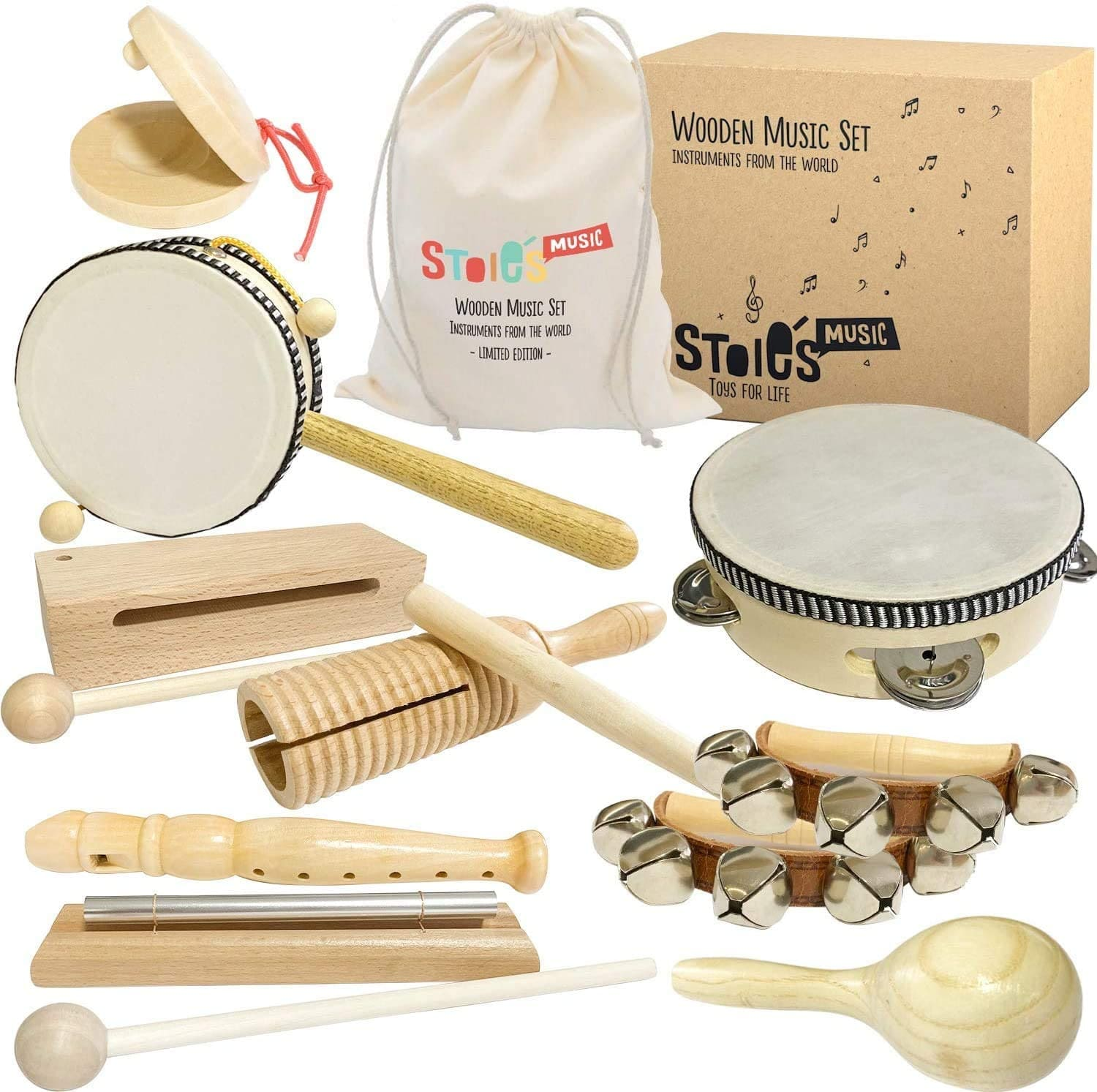 Stoie's International Wooden Music Set for Toddlers and Kids